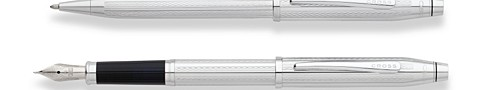 Century II Engraved Chrome Ballpoint and Fountain Pen Set with Medium Nib