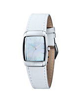 Classic Women's Design Watch with Mother of Pearl Dial And White Leather Strap
