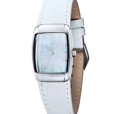 Women's<br /> Designer Watch With Mother of Pearl Dial and White<br /> Leather Strap