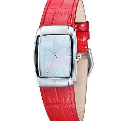 Women's<br /> Designer Watch With Mother of Pearl Dial and Red<br /> Leather Strap