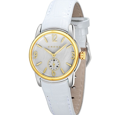 Men's<br /> Designer Watch with Round White Dial Plus Day and<br /> Date Displays