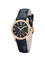 Women's Designer Watch with Black Dial and Rose Gold Case and Numerals