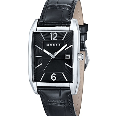 Men's<br /> Designer Watch With Rectangular Textured Black<br /> Dial