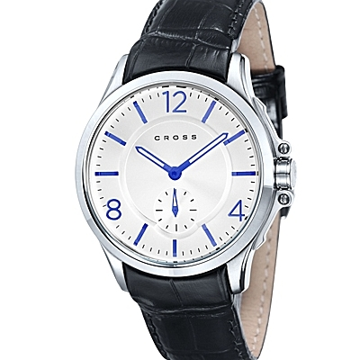 Men's<br /> Designer Watch with Round White Dial and Blue<br /> Subdial Seconds Display
