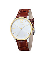 Elegant Men's Designer Watch with White Dial and Brown Leather Strap