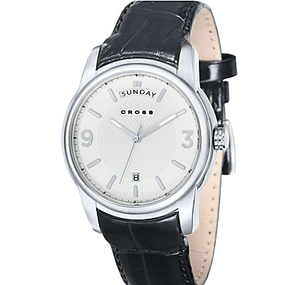 Men's<br /> Designer Watch with Round White Dial and Subdial<br /> Seconds Display