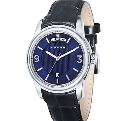 Men's<br /> Designer Watch with Round Black Dial and Subdial<br /> Seconds Display