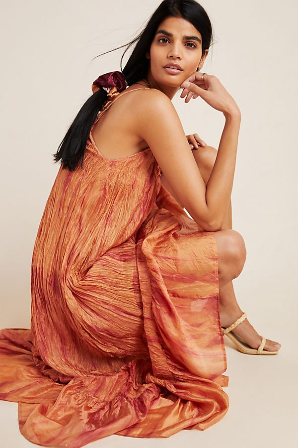 Slide View: 1: Faustine Crushed Silk Maxi Dress