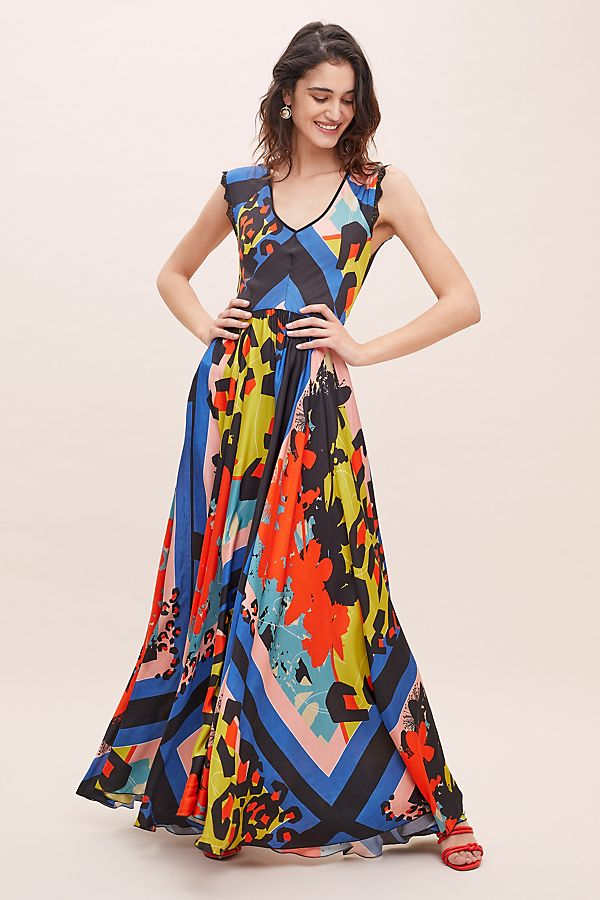 Selina Abstract-Print Maxi Dress | Anthropologie DE