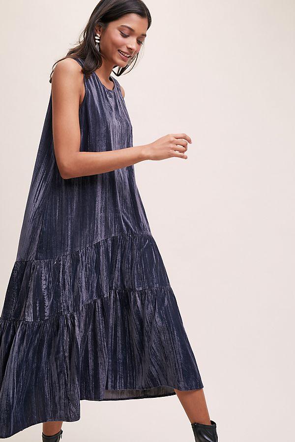 Addison Tiered Velvet Midi Dress | Anthropologie FR