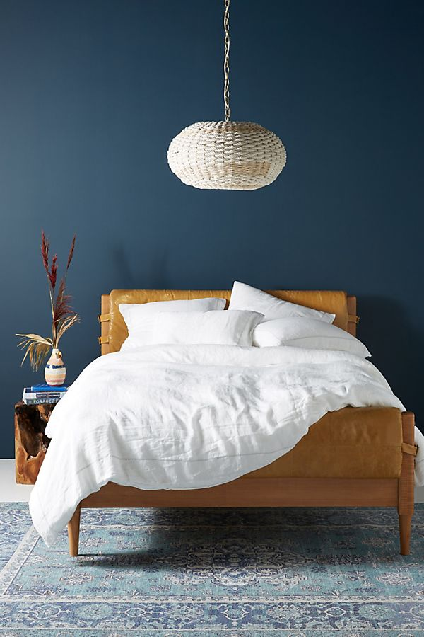 Slide View: 1: Stitched Linen Duvet Cover