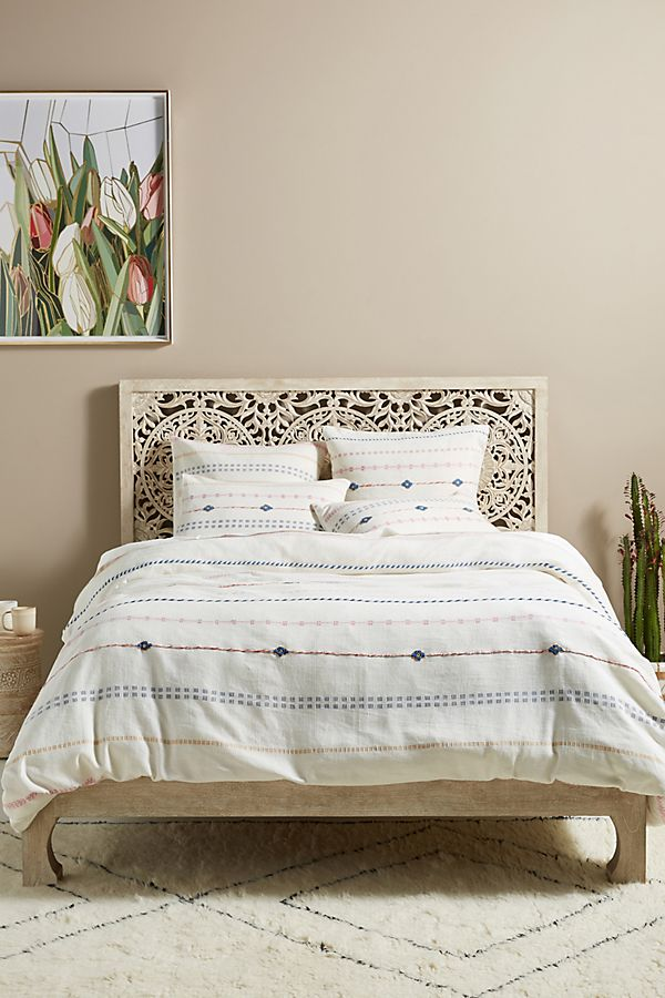 Slide View: 1: Woven Lapis Duvet Cover