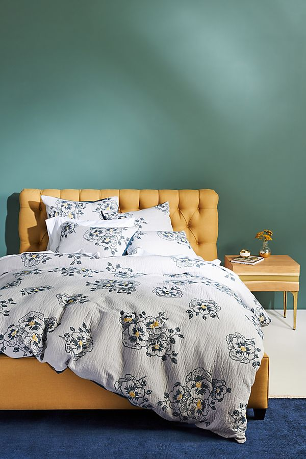 Slide View: 1: Jacquard-Woven Galia Duvet Cover