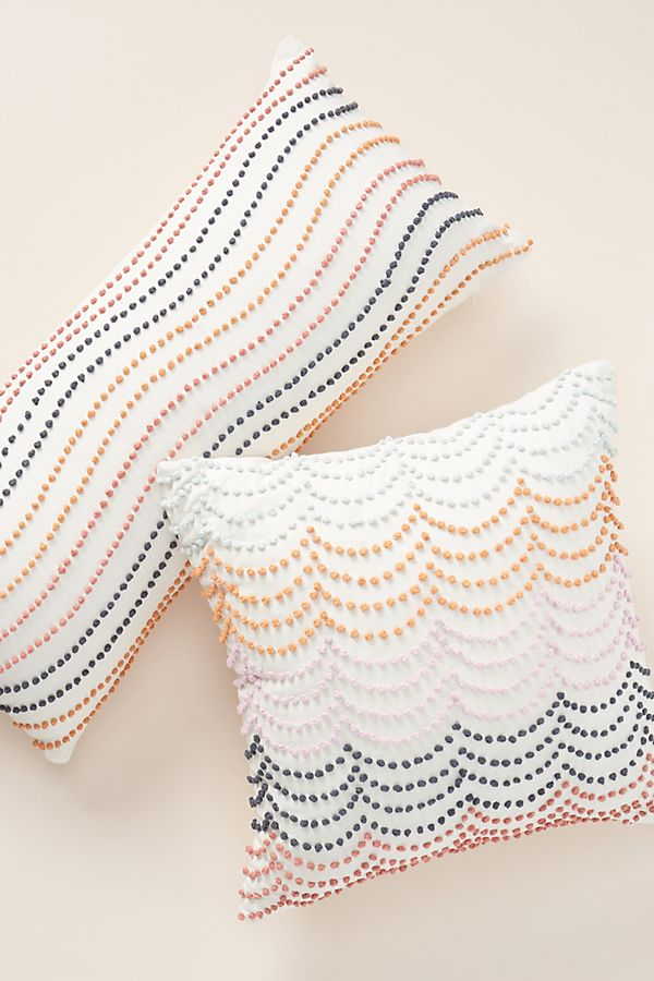 Slide View: 1: Rainbow-Striped Embroidered Pillow