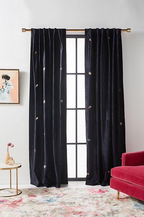 Slide View: 1: Embroidered Velvet Wyatt Curtain