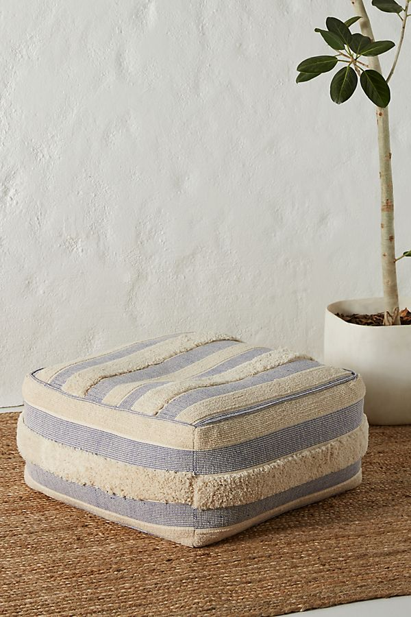 Shaggy Striped Square Pouf | Anthropologie