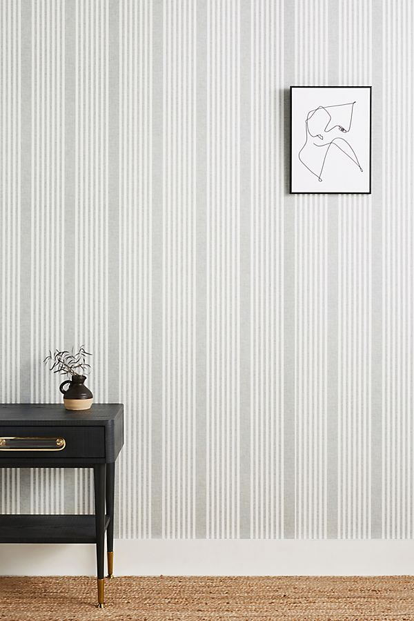 Slide View: 1: French Linen Stripe Wallpaper