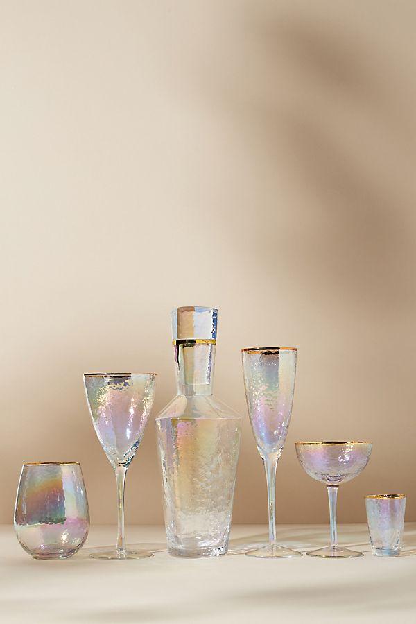Slide View: 3: Lustered Stemless Wine Glasses, Set of 4