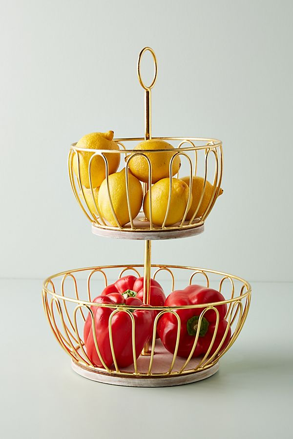 Slide View: 1: Gold Wire Two-Tier Fruit Basket