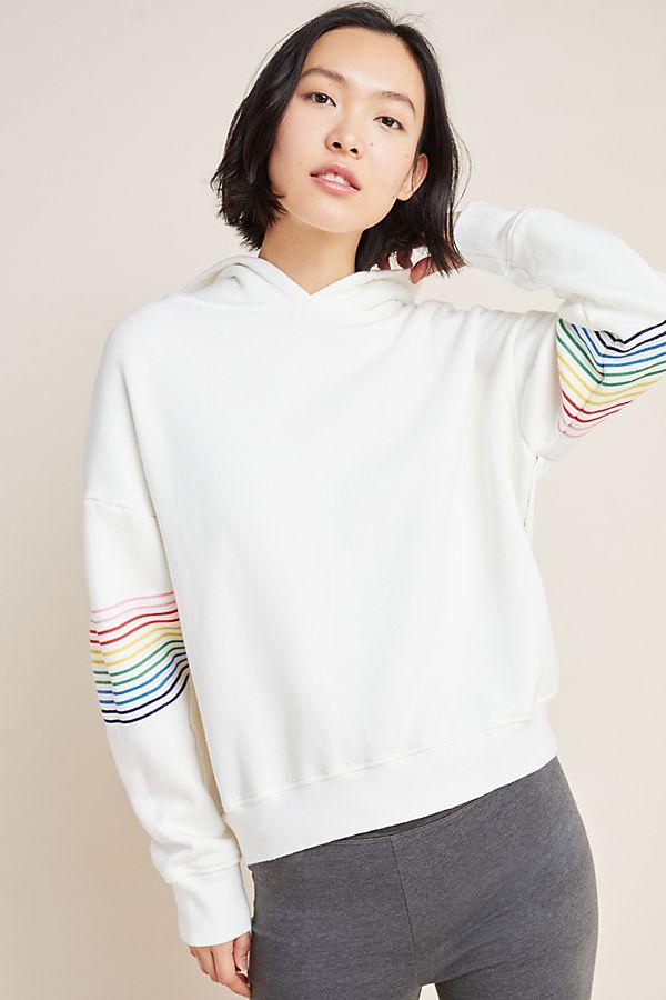 Slide View: 1: Sundry Rainbow-Striped Hoodie