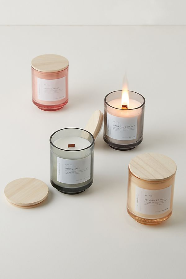 Slide View: 1: Gemma Wood Wick Glass Candle
