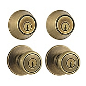 Tylo Combo Pack , Antique Brass 242T 5 | Kwikset Door Hardware