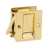 Pocket Door Lock , Polished Brass 332 3 | Kwikset Door Hardware