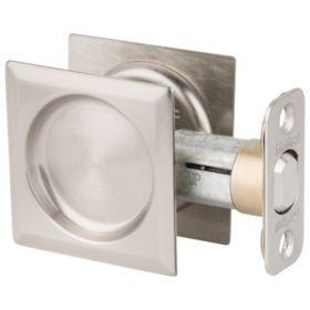 Squared Pocket Door Lock - Satin Nickel