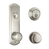 Metal Interconnect With Key Control Deadbolt and Hancock Knob Light Commercial, Satin Nickel 508H SMT KCDB 15 | Kwikset Door Hardware