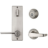 Contemporary Metal Interconnect With Kingston and Ladera Lever Light Commercial, Satin Nickel 508KNLXLRL LH 15 SMT | Kwikset Door Hardware