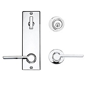 Contemporary Metal Interconnect With Ladera Lever Light Commercial, Polished Chrome 508LRLXLRL LH 26 SMT | Kwikset Door Hardware