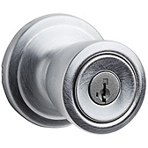 Abbey Keyed Entry Door Knobs, Satin Chrome 740A 26D SMT | Kwikset Door Hardware