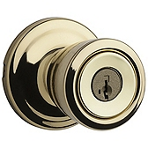 Abbey Door Knobs, Polished Brass 740A 3 SMT | Kwikset Door Hardware