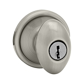 Laurel Keyed Entry Door Knobs, Antique Nickel 740L 15A SMT | Kwikset Door Hardware