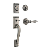 Ashfield Single Cylinder Handlesets, Rustic Pewter 800ADHXADL 502 SMT | Kwikset Door Hardware