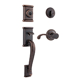 Ashfield Single Cylinder Handlesets, Rustic Bronze 800ADHXCHL 501 SMT | Kwikset Door Hardware