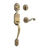 Arlington Single Cylinder Handlesets, Antique Brass 800ANXLL 5 SMT | Kwikset Door Hardware