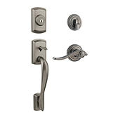 Avalon Single Cylinder Handlesets, Rustic Pewter 800AVHXAVL 502 SMT | Kwikset Door Hardware