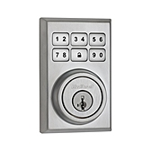 Contemporary SmartCode Deadbolt  , Satin Chrome 909CNT 26D SMT | Kwikset Door Hardware