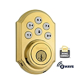 SmartCode Deadbolt with Home Connect , Lifetime Polished Brass 910TRL ZW L03 SMT | Kwikset Door Hardware
