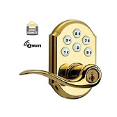 SmartCode Lever with Home Connect , Lifetime Polished Brass 912LL TRL ZW L03 SMT | Kwikset Door Hardware
