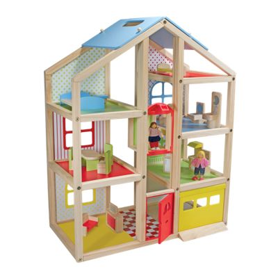 Melissa & Doug Hi-Rise Wooden Dollhouse and Furniture Set