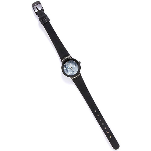 Bay Studio Black Strap Rhinestone Watch