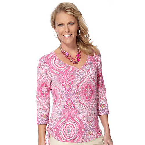 Caribbean Joe Paisley Road Side Ruched Top
