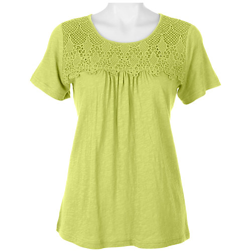 Caribbean Joe Solid Lace Trim Top