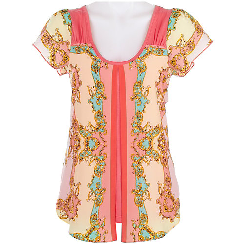 OneWorld Split Front Print Top