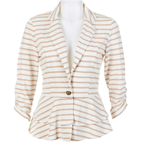 Absolutely Famous Stripe Tier Peplum Jacket