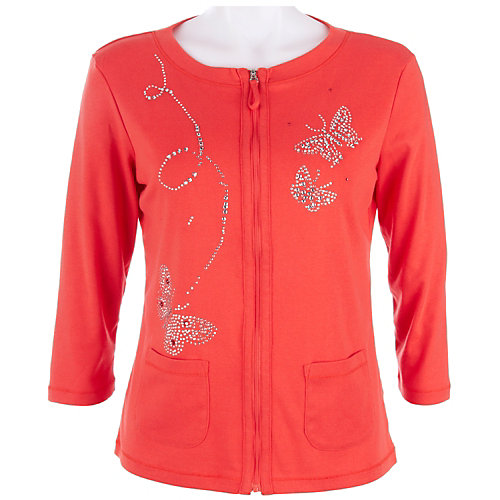 Onque Spring My Way Embellished Zip Front Jacket