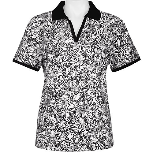 Coral Bay Golf Short Sleeve Floral Polo Shirt