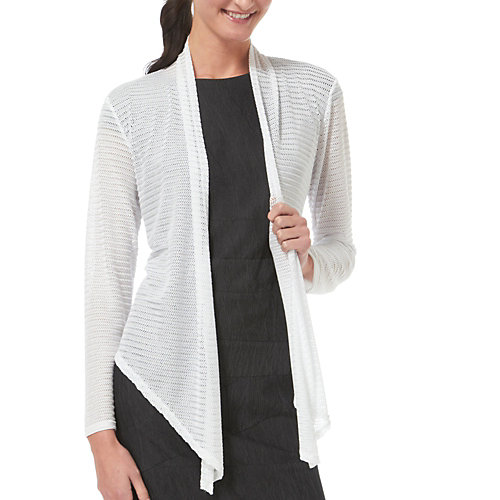 Brittany Black Open Weave Cascading Cardigan